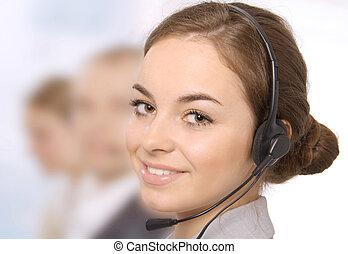 Customer service representative - Closeup of a female...