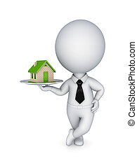 3d person pulling hands to small house.