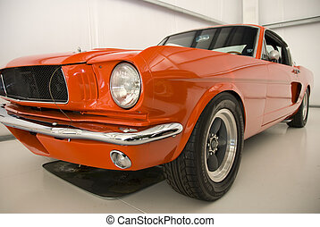 Orange Mustang Old Car - Orange Muscle Car From America
