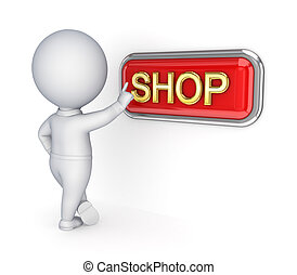 3d small person pushing SHOP buttonIsolated on white...