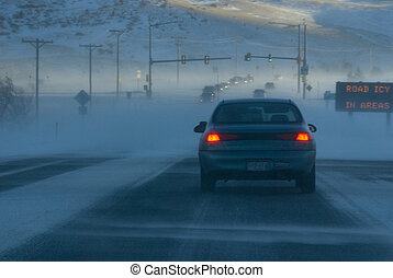 Road May Be Icy In Areas - Icy Road and Snowy Weather