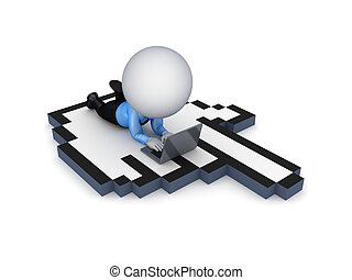 3d small person lying on a large cursor.
