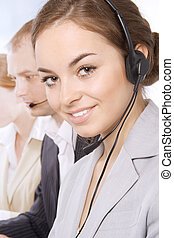 Customer service representatives - Closeup portrait of...