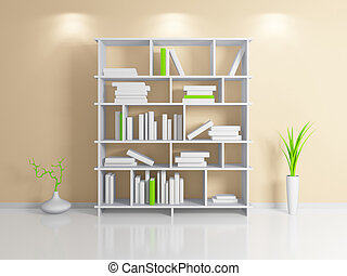 Modern bookshelf - Modern interior composition with a white...