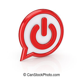 Power button. - Power icon. Isolated on white background.3d...