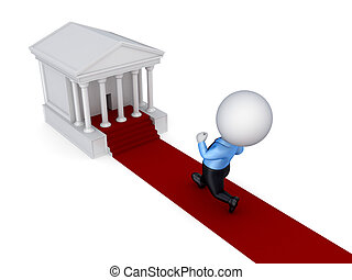 3d small person running to a courthouseIsolated on white...