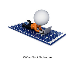 3d small person lying on a solar battary - 3d small person...