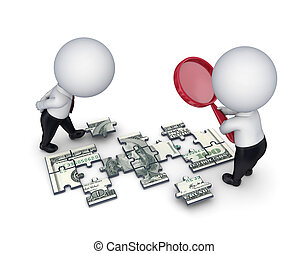 3d people with a loupe and dollar made of puzzles - 3d small...