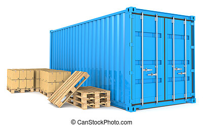 Cargo Container and Goods - Blue Cargo Container, pallets...