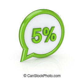 50% icon.Isolated on white background.3d rendered...