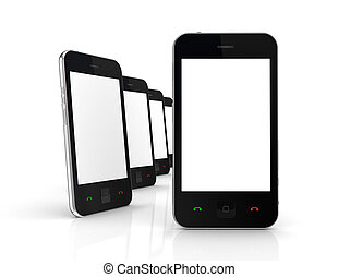 Modern mobile phones with touchscreen.