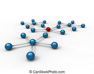 3d illustration of a blue molecule with an red atom on white background