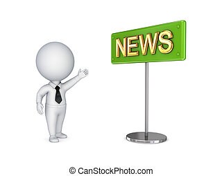 .3d small person showing on a bunner NEWS. - 3d small person...
