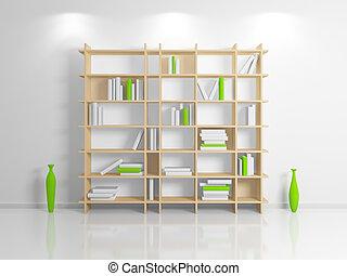 Modern bookshelf. - Modern interior composition with a beige...