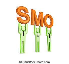 3d small people with a word SMO in a hands.