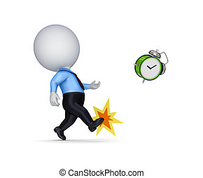 3d small person kicking a vintage watchIsolated on white...