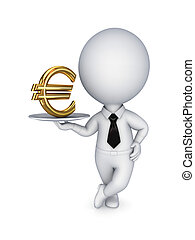 3d small person and dollar sign. - 3d small person and euro...