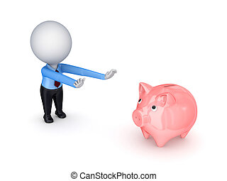 3d small person pulling hands to piggy bank.