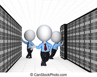 3d small people and server.Isolated on white background.3d...