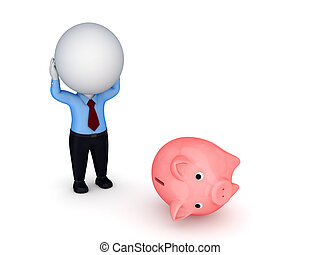Stressed 3d small person and piggy bank.