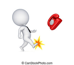 3d small person kicking vintage telephone
