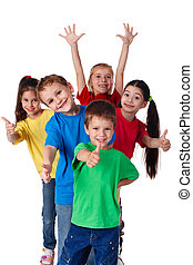 Group of children with hands and thumbs up - Group of happy...