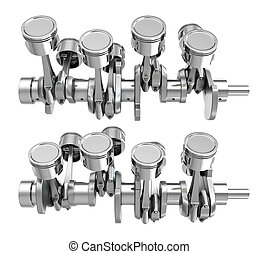 V8 engine pistons on a crankshaft, two positions
