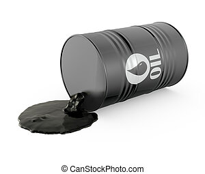 Oil is spilling from the barrel, isolated on white...