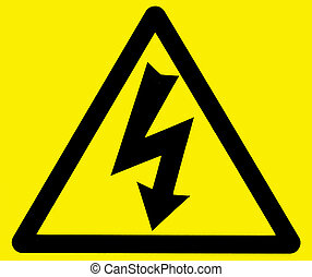 Danger of electrocution warning sign - Black on yellow...