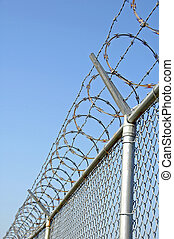Security Fence - Chainlink Security fence with razor wire
