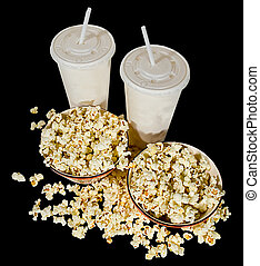 Movie Snack - Two bowls of popcorn and two soft drinks ready...
