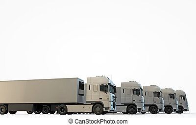 trucks isolated on white background