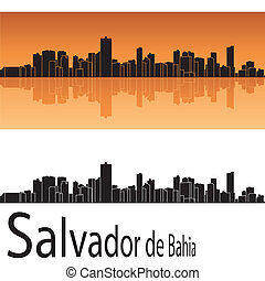 Salvador de Bahia skyline in orange background in editable...