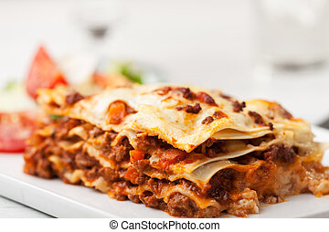 italien, lasagne, carrée, plaque