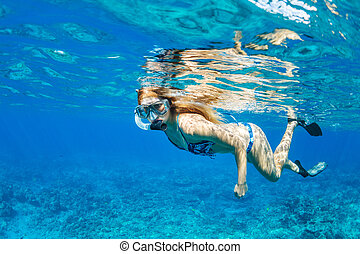 Woman Snorkeling in Tropical Ocean - Beautiful Woman...