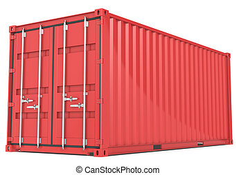 Cargo Container. - Red Cargo Container. Perspective view.