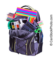 backpack with school supplies including, notebooks, pens,...
