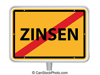 "German placename sign with word ""Zinsen"""