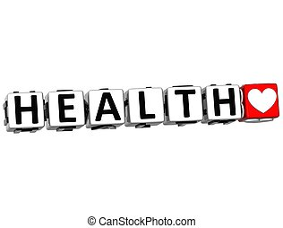 3D Health Button Click Here Block Text