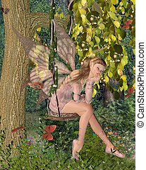 Pink Fairy on a Woodland Swing - Pretty blonde fairy with...