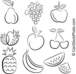 Print - set of hand drawn fruit silhouettes over white