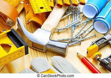 big composition of construction tools