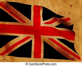 British flag - Illustration of 3d British flag over old...
