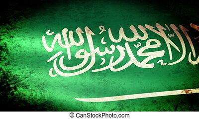 Saudi Arabia Flag Waving, grunge look
