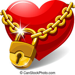 Closed heart - Red heart locked with chain. Love concept....