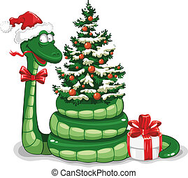 Christmas snake - Cute snake (symbol of 2013 year) in...