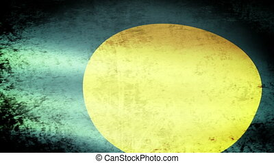 Palau Flag Waving, grunge look
