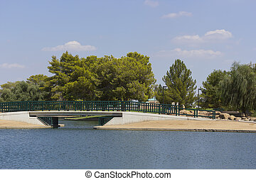 Bridge over Cortez Lake, Phoenix, AZ - Pedestrian bridge at...