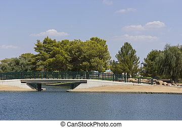 Bridge over Cortez Lake, Phoenix, AZ - Pedestrian bridge at...
