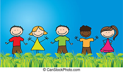Childhood - Children draw on grass with blue sky background,...